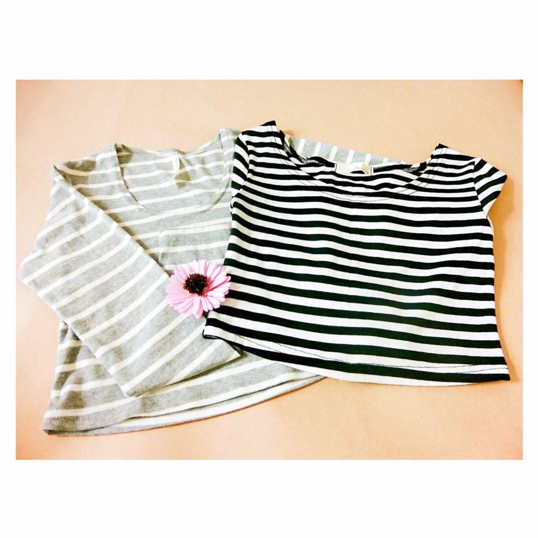 短版條紋上衣(黑白)&(灰白)