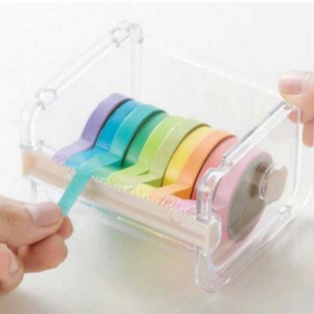 和紙切割器 和紙收納盒 膠帶座 (隨機出色)