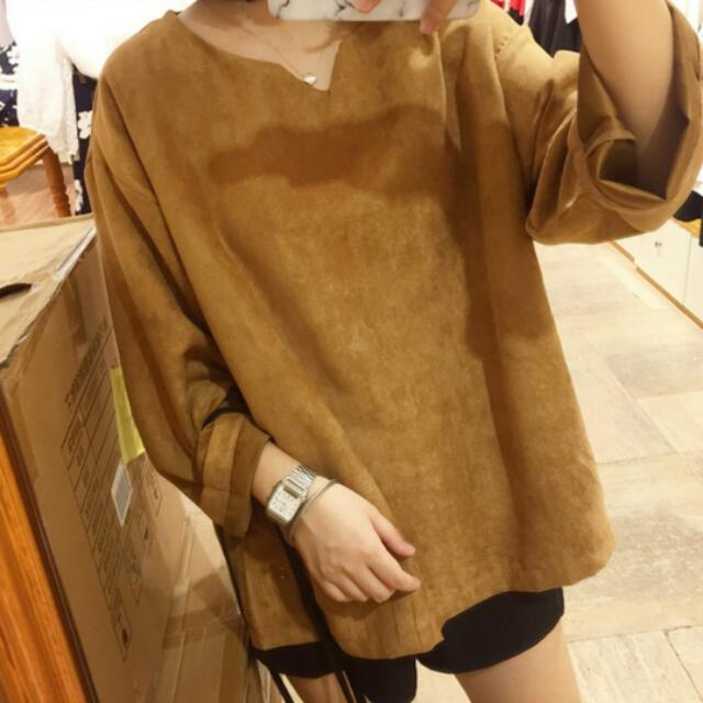 韓國流行 復古 駝色 鹿皮寬鬆上衣#交換最划算