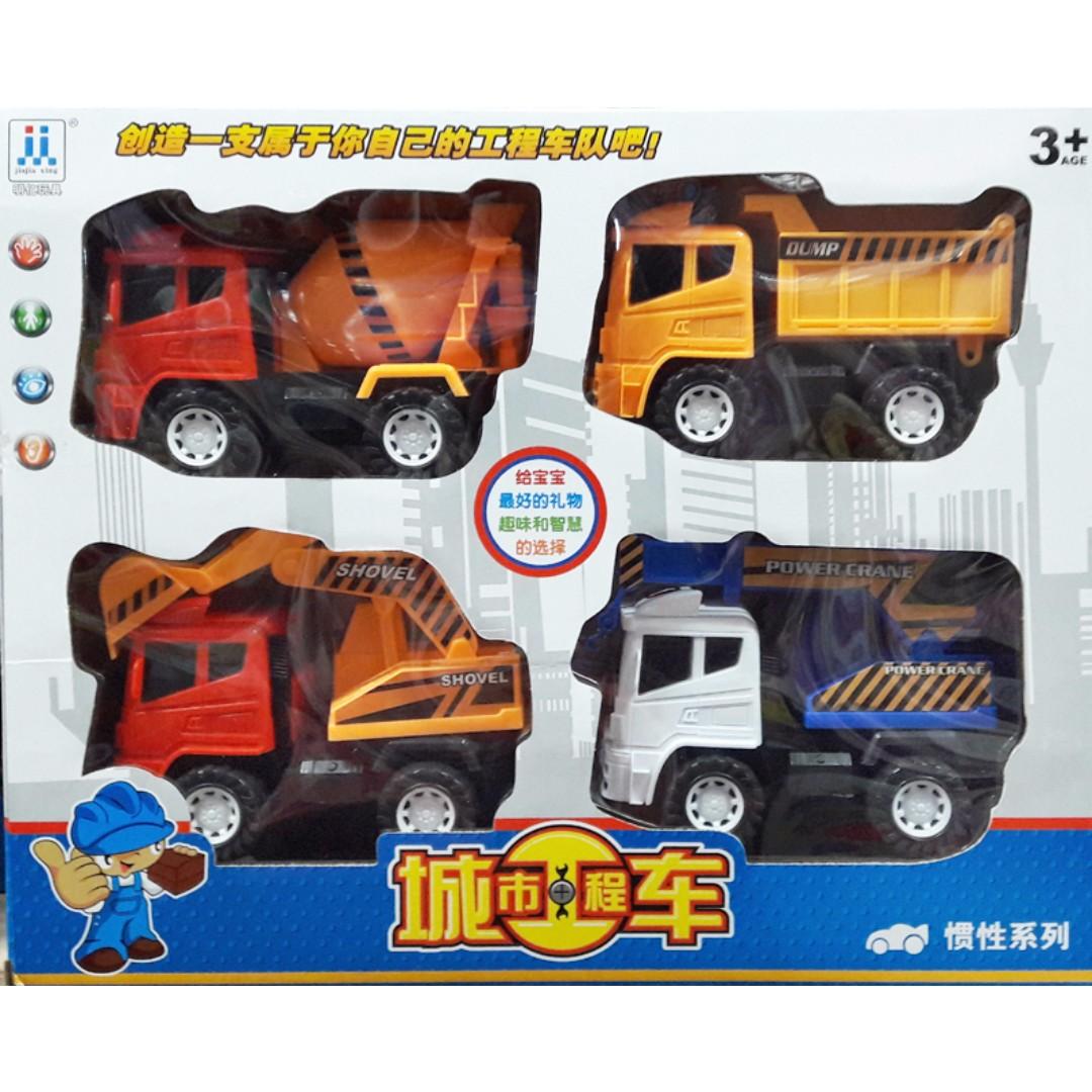 城市建設 工程車玩具 四台 慣性玩具車 沙灘玩具