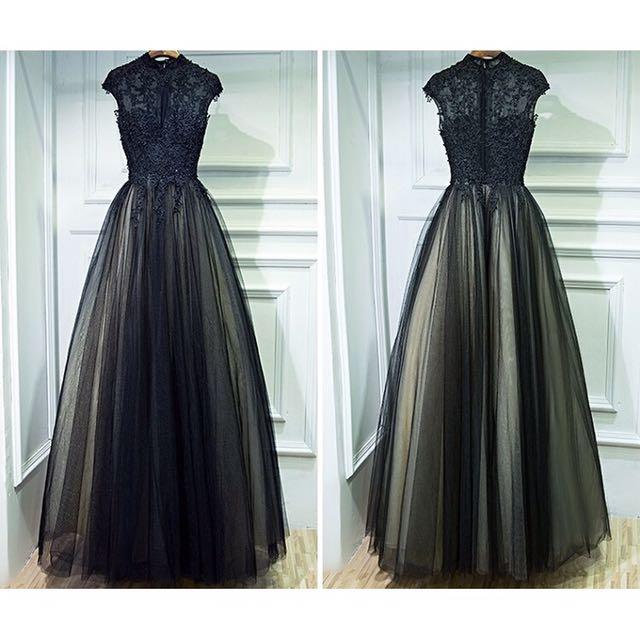 現貨-黑色晚禮服 宴會服 新娘服 婚紗 紗裙 連身洋裝 連身長裙 蕾絲上衣 蕾絲長裙 黑色洋裝 長洋裝 禮服 全新