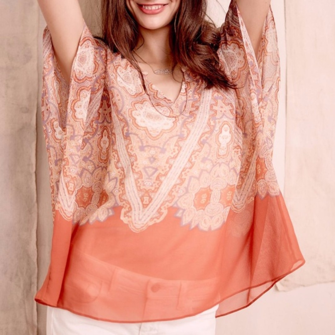 ANTHROPOLOGIE MAEVE Nalina Silk Tunic Kimono Top Blouse Orange XS $148