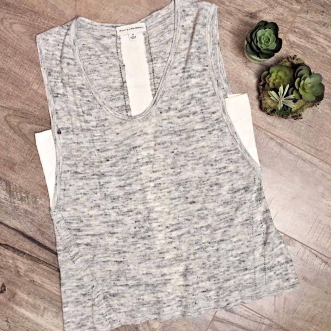 ANTHROPOLOGIE WHITE WARREN Linen Blend Sleeveless Top Gray Grey Crochet Detail S