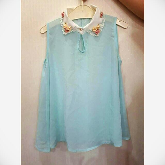 NEW Atasan Baju Light Blue Flower Shirt
