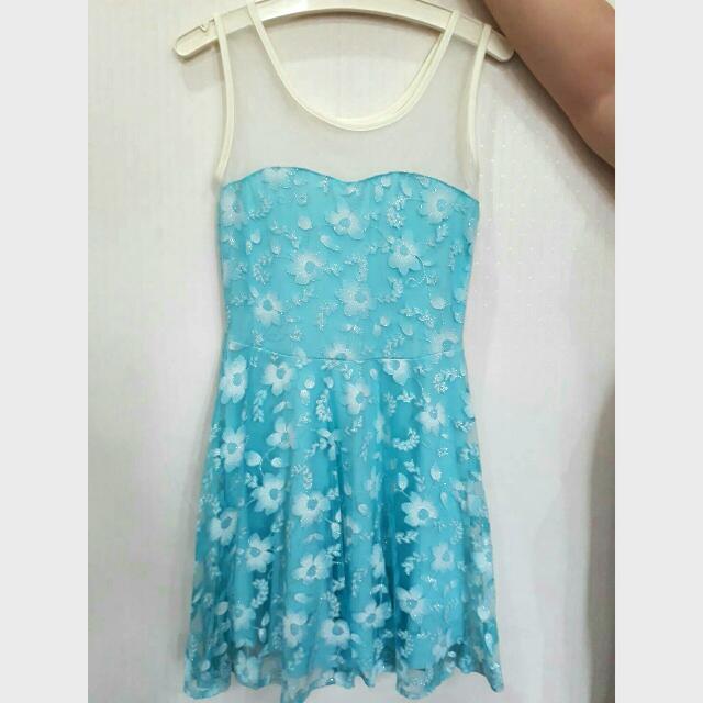 Baju Flowery Soft Blue Dress