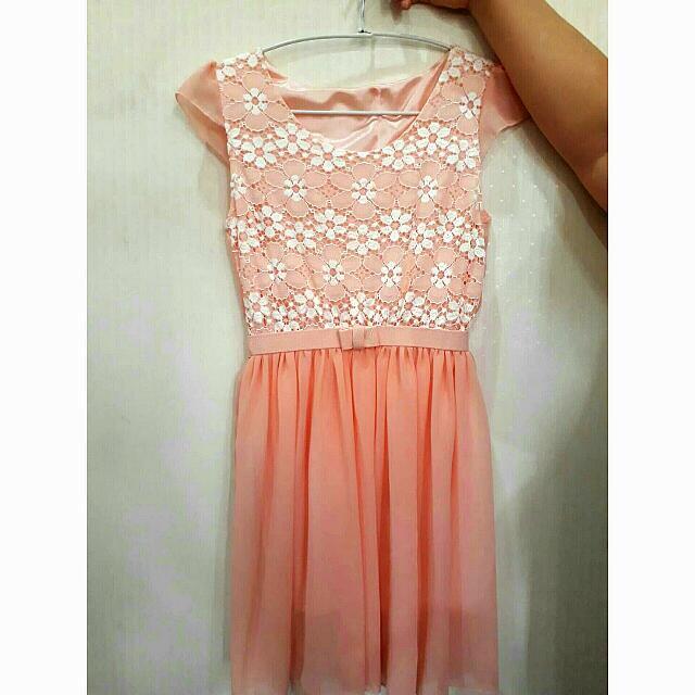 Baju Flowery Soft Pink Dress