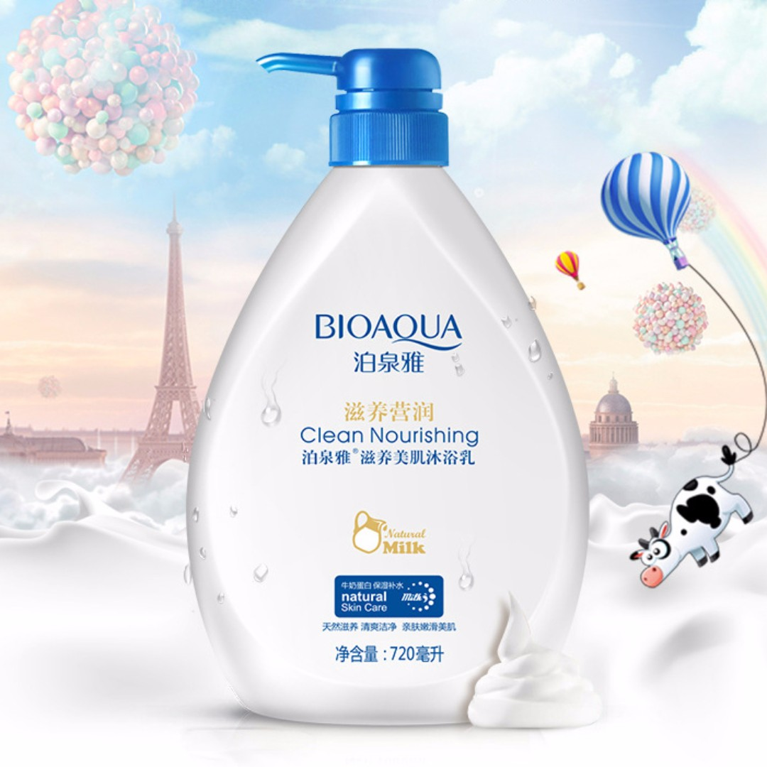 BIOAQUA CLEAN NOURISHING NATURAL MILK CLEANSING MILK SABUN CAIR SUSU