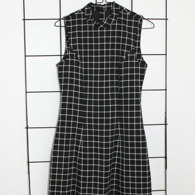 Black Check Fitted Dress