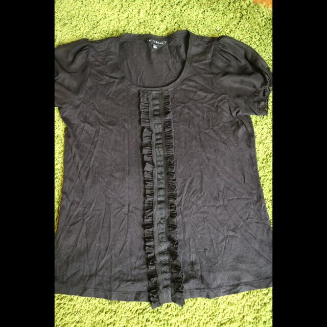 Black Frilly Formal Work Shirt