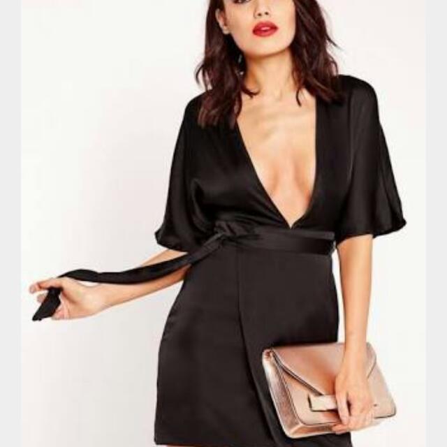 Black Open Cut Silky Dress