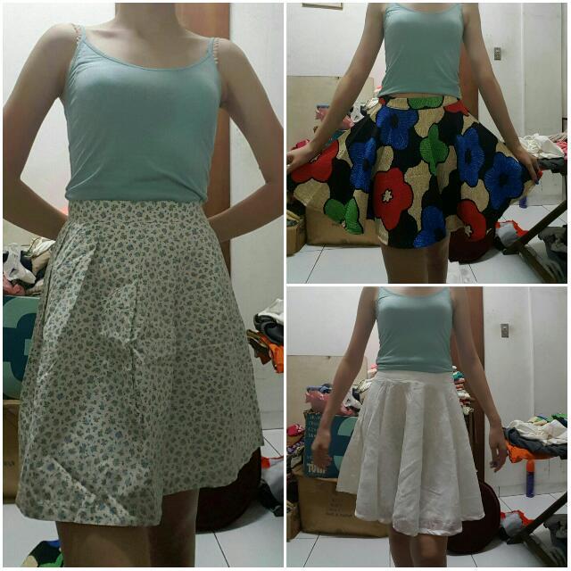 Borong 3pcs Skirt Floral Fit Size M