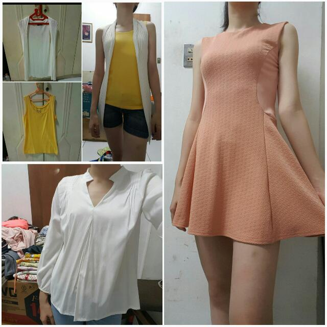 Borong 4pcs Dress + Atasan + Tanktop + Cardigan