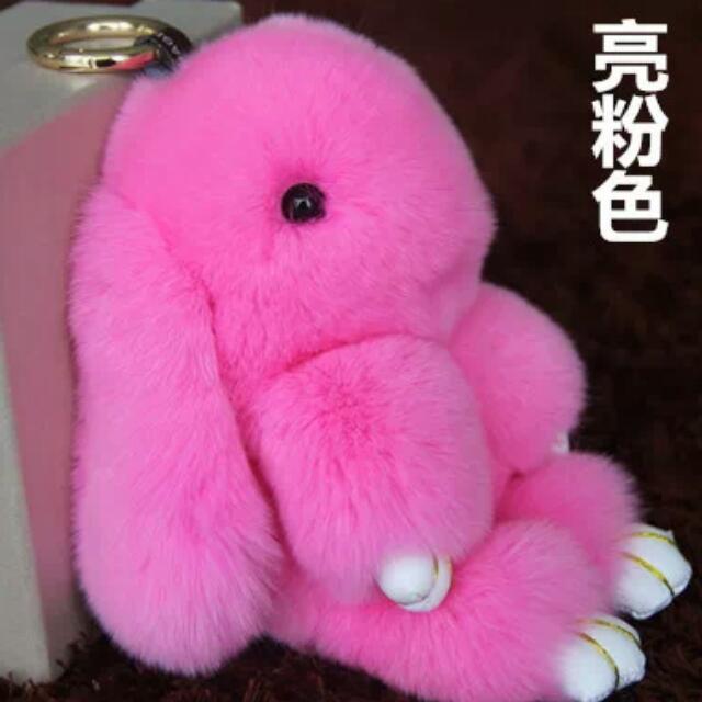 Brand New 18CM Fluffy Bunny Real Rex Rabbit Fur Keychain Monster Pendant  Pom Pom Keychain Women Hand Bag Car Charm Key Holder Jewelry - Rose Pink da4465080f