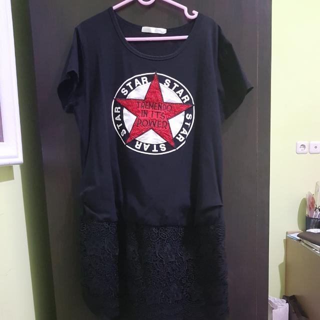 Casual Star Dress Black