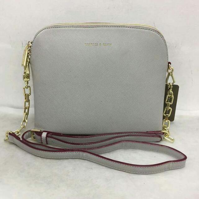 Charles And Keith Sling Bag With Gold Chain