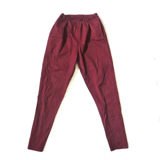Cotton Pants Maroon