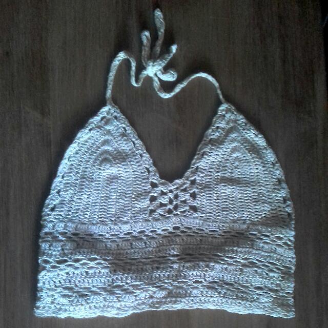 Cream Crochet Halter Crop Top Lace Up