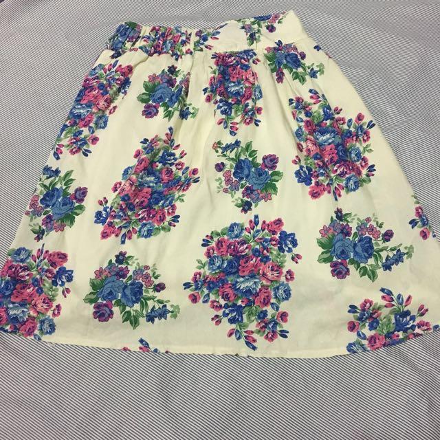 Cream Flower Skirt