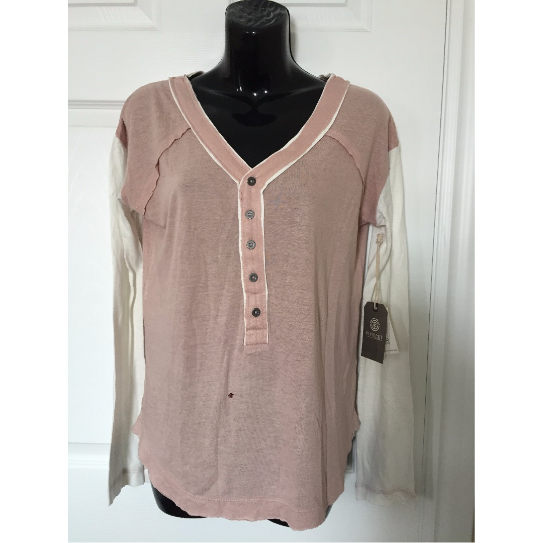 NWT ELEMENT EDEN Casey Long Sleeve Henley Tshirt Rose Pink Women's Sz. M