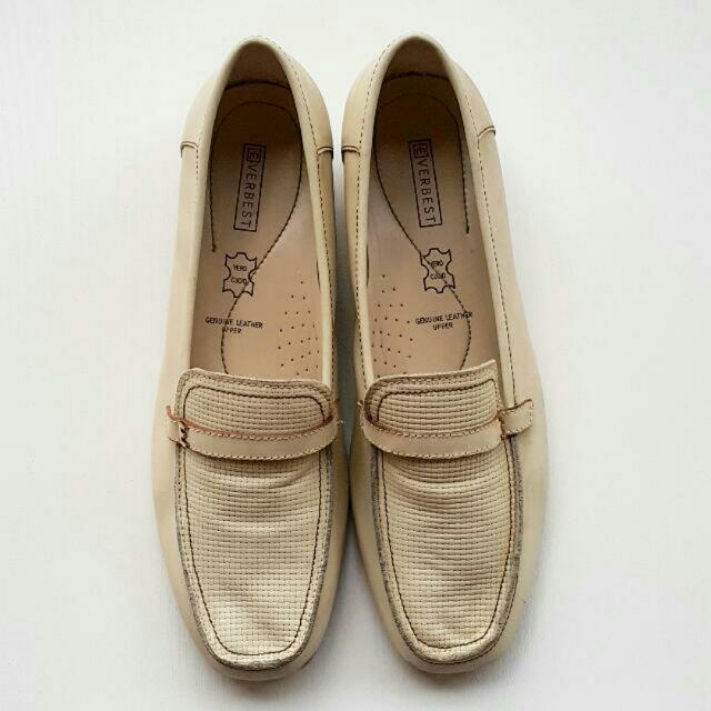 Everbest Original Cream Beige Heels Elegent Loafers Sz 40