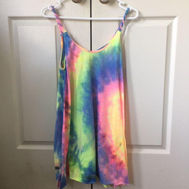 Fluro Tie Dye Print Dress
