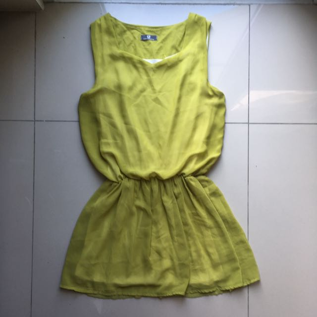 Green Garterized Dress