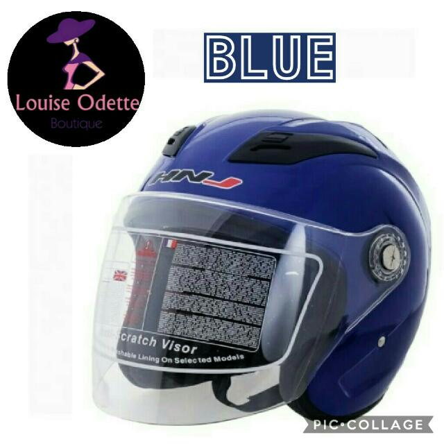 HNJ Half Face Motorcycle Helmet (BLUE)