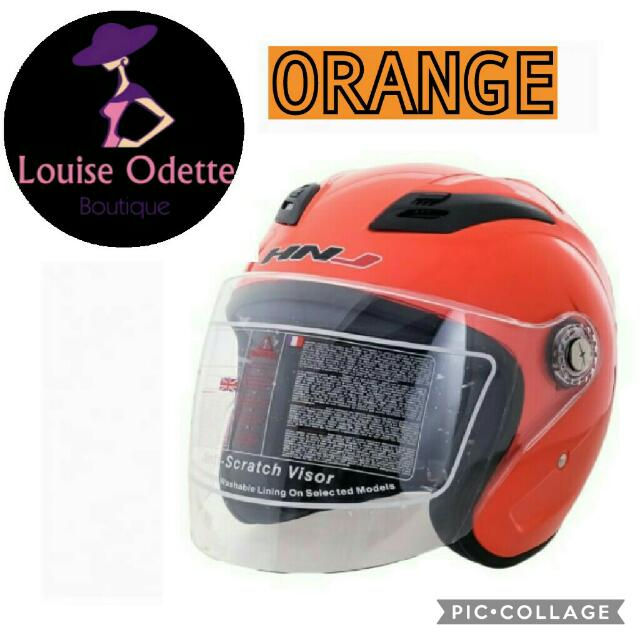 HNJ Half Face Motorcycle Helmet (ORANGE)