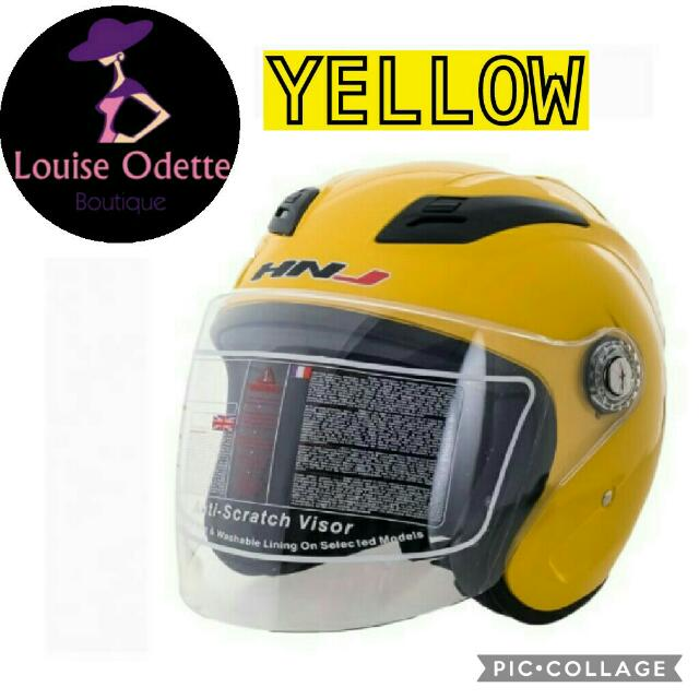 HNJ Half Face Motorcycle Helmet (YELLOW)