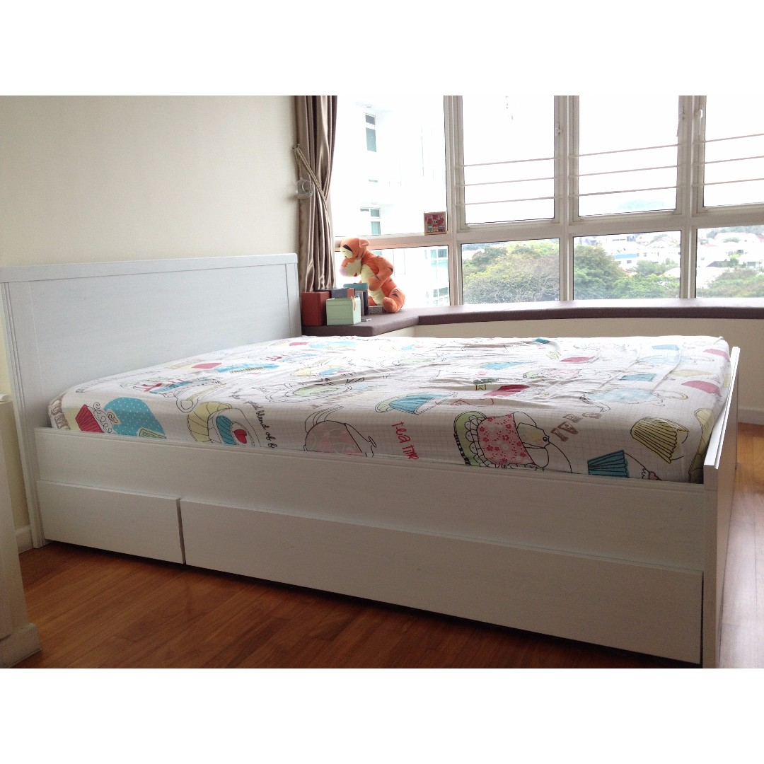 Picture of: Ikea Brusali Queen Size Bed Frame With Storage Furniture Beds Mattresses On Carousell