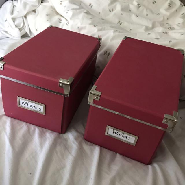 Ikea Pink Organisational Boxes