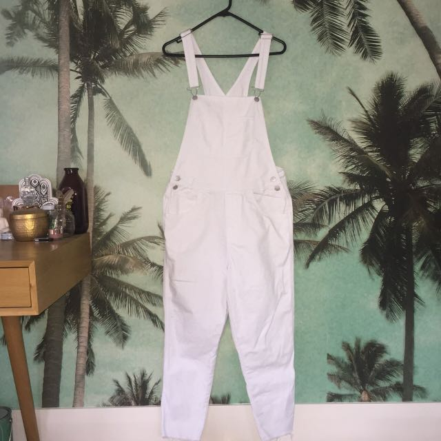 Insight White Denim Overalls