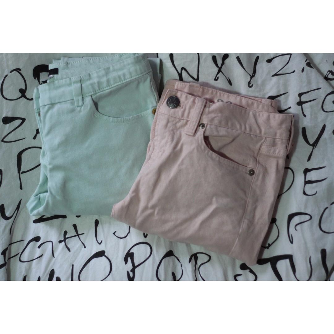 J Crew Pink Pants + H&M Peppermint Pants
