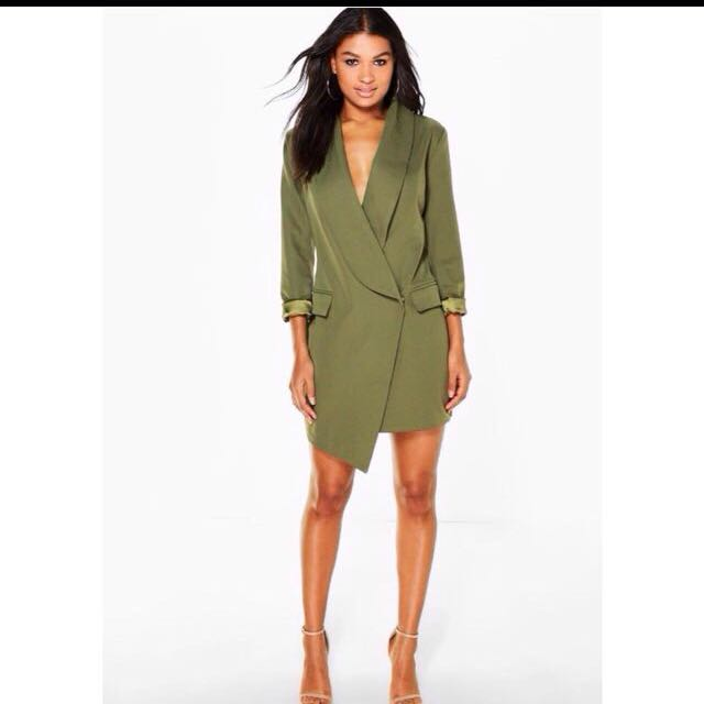 Khaki Green Jacket Dress