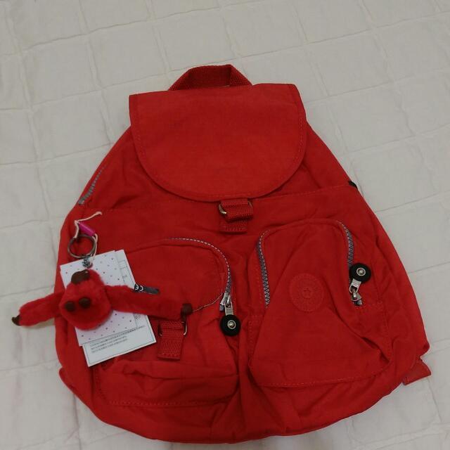 Kipling正品大紅色雙肩背包BP2393