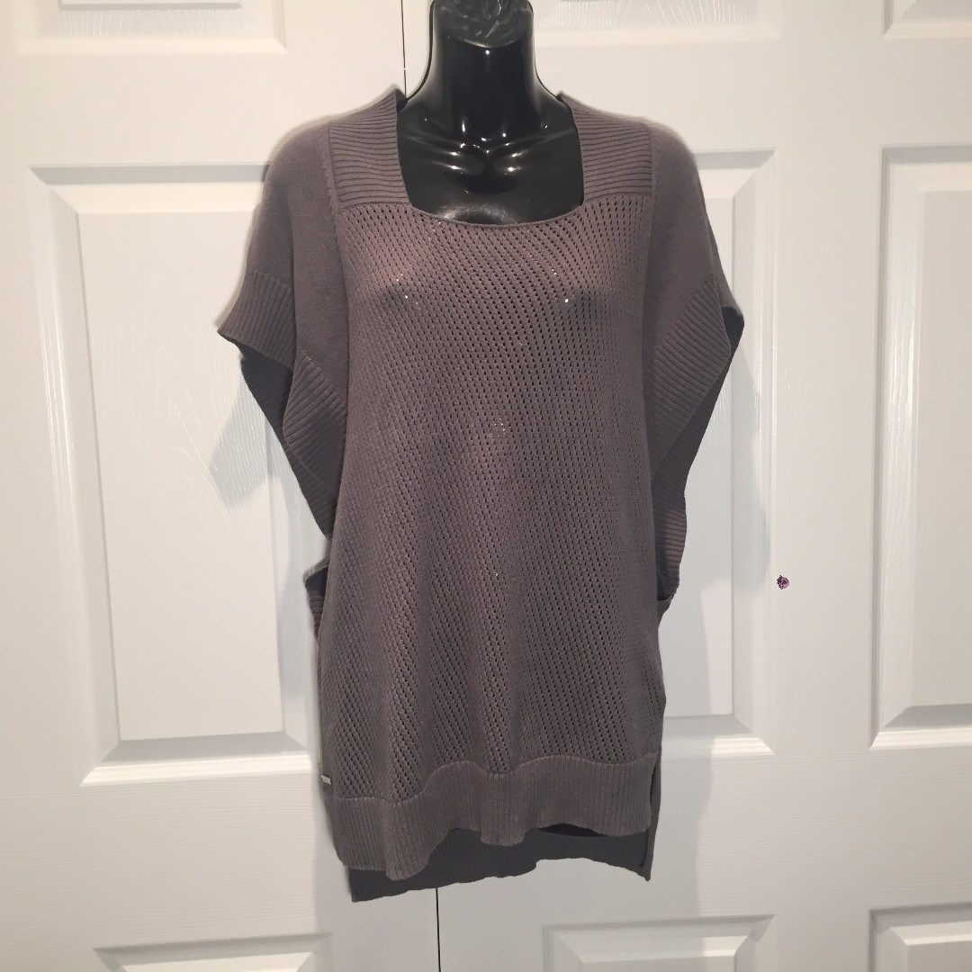 LOLE Silk Blend Grey Tunic Pullover Sweater Oversize Sz. S EUC
