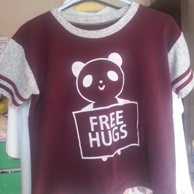 """maroon """"free hugs"""" panda top"""