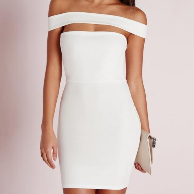 Misguided Cut Out Panel Bardot Bodycon Dress