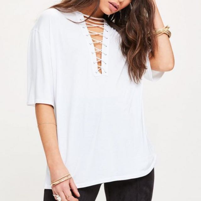Missguided White Lace Up Top