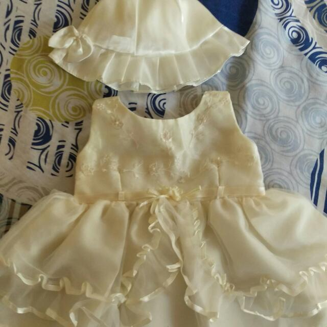 New Christening Dress With Hat And Shoes