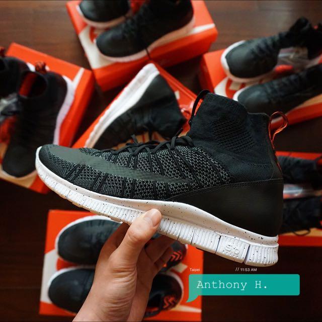 Nike Free Mercurial Flyknit 黑潑墨 黑橘 呂布
