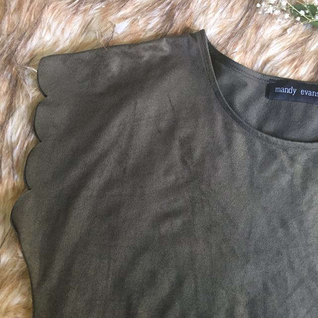 Olive Scalloped Sleeves And Hem Faux Suede Top