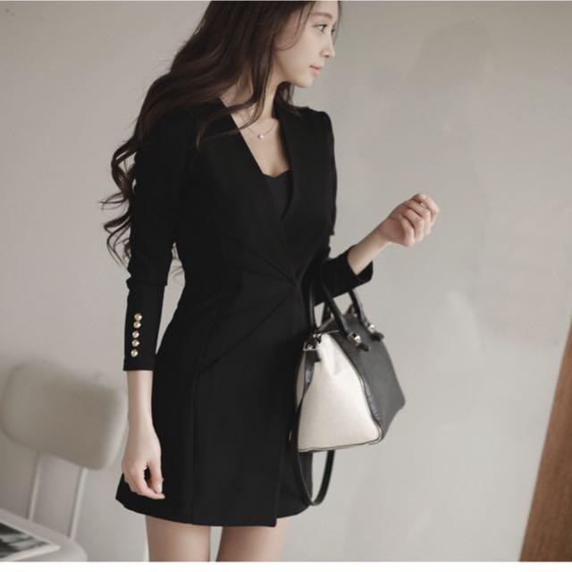 OL性感V領收腰連身裙黑色