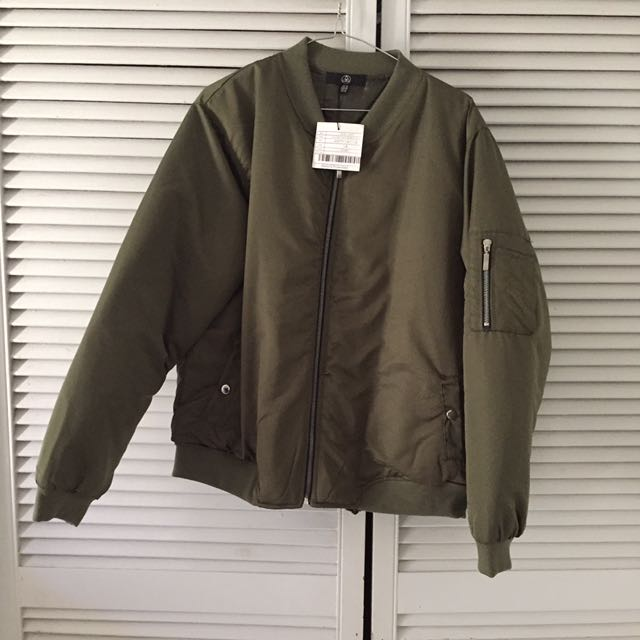 Plus Size Misguided Bomber Jacket - Khaki
