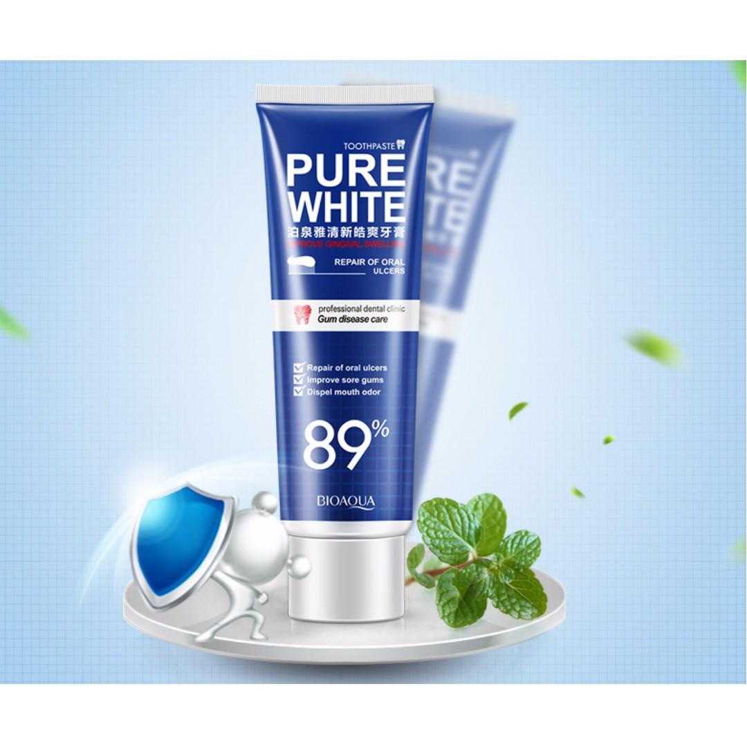 PURE WHITE TOOOTHPASTE 89% MERAH DAN BIRU