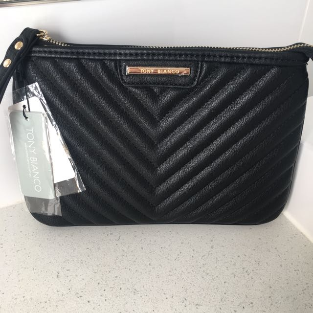 TONY BIANCO LARGE BLACK CLUTCH w/wristlet BAG