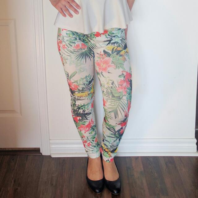 Tropical Print White Leggings