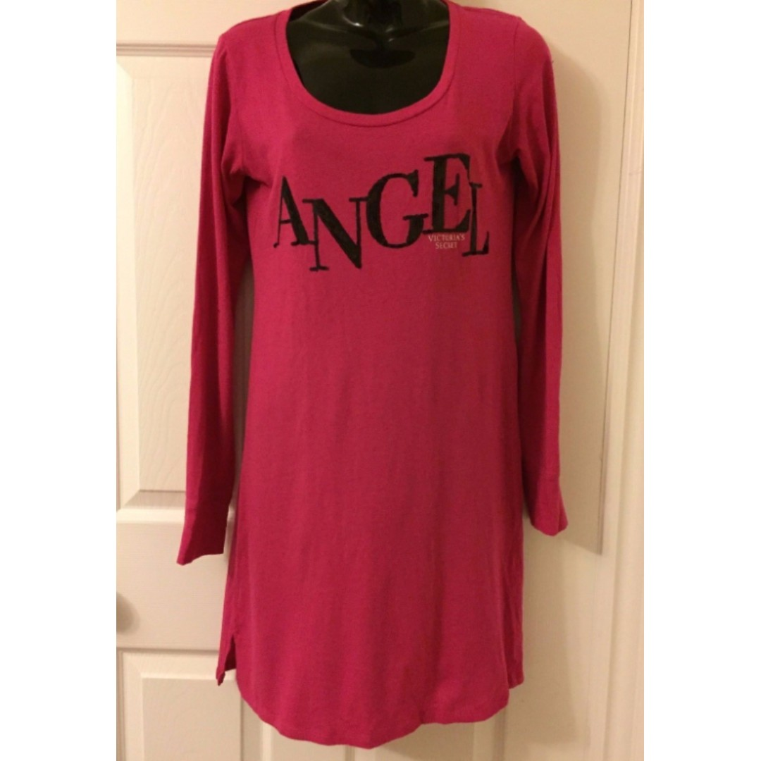 VICTORIAs SECRET VS Angel Night Sleep Tee Shirt Nightgown Pyjama XS Sequin Pink