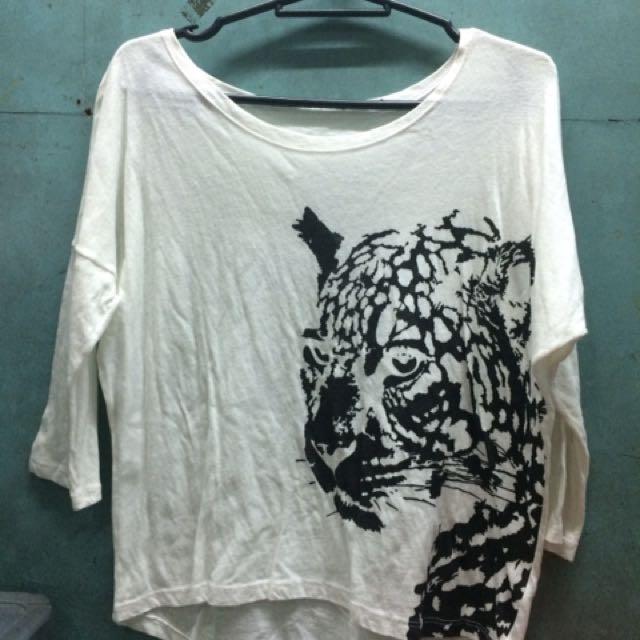White Crop Top With Jaguar Print