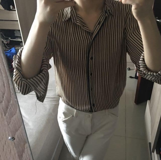 Zara 米金黑配色 直條紋襯衫